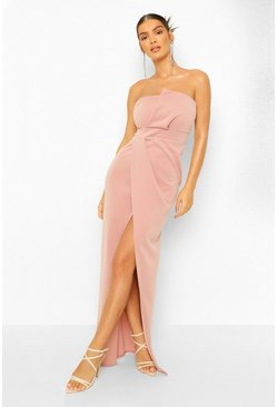 Blush pink Bandeau Wrap Detail Split Maxi Dress