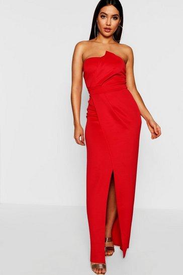 Red Bandeau Wrap Detail Split Maxi Dress