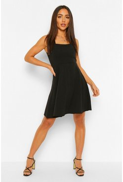 Black Square Neck Skater Dress