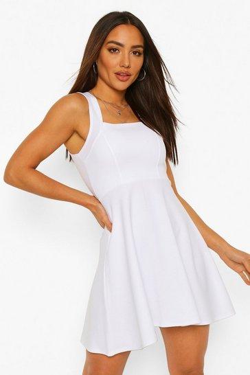 White Square Neck Skater Dress