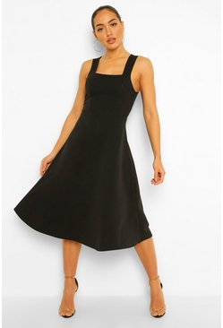 Black Square Neck Midi Skater Dress