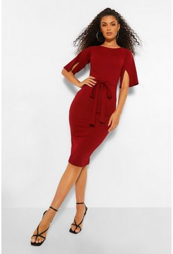 Berry red Split Sleeve Detail Wiggle Midi Dress