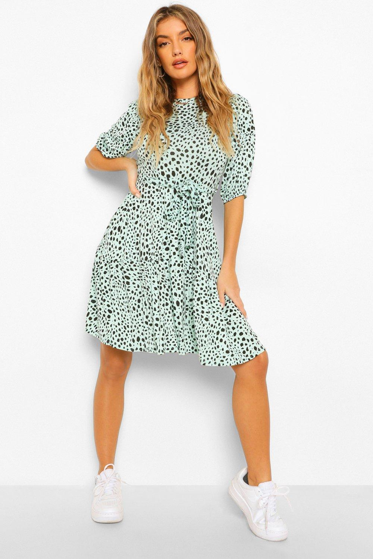 DRESSES Animal Print Belted Frill Hem Skater Dress