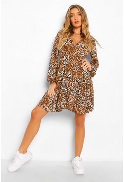 Brown Leopard Plunge Tiered Skater Dress