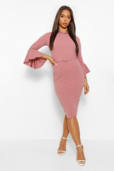 Rose pink Flared Sleeve Belted Midi Dress