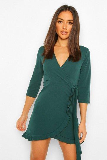 Evergreen green Formal Tie Wrap Frill Detail Skater Dress