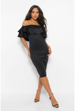 Black Bardot Layered Frill Detail Midi Dress