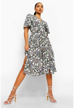 Black Floral Dop Hem Midi Dress