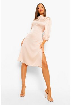 Champagne beige High Neck Satin Midi Dress