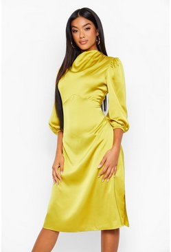 Chartreuse yellow High Neck Satin Midi Dress