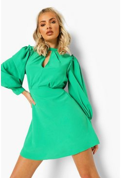 Green Open Back Puff Sleeve Skater Dress