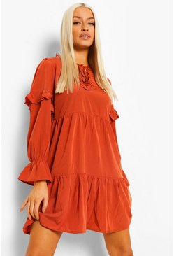 Rust orange Ruffle Tie Neck Smock Dress