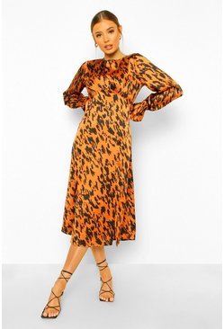 Tan Satin Leopard Curved Seam Midi Dress