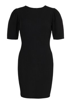 Black Tailored Puff Sleeve Midi Dress