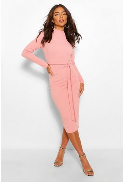 Rose pink High Neck Belted Midi Dress