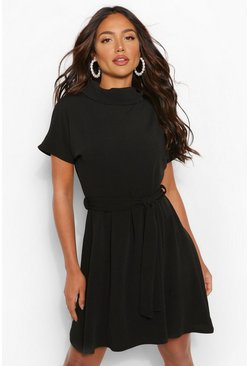 Black Roll Neck Belted Shift Dress