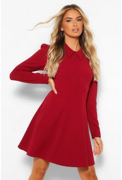 Burgundy röd Long Sleeve Collared Skater Dress