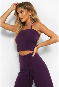 Purple Tailored Strappy Halterneck Top