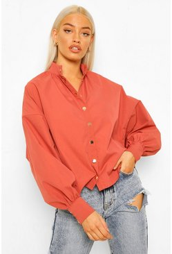 Rust Gold Popper Batwing Blouse