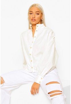 White Gold Popper Batwing Blouse
