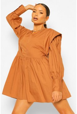 Cotton Extreme Shoulder Smock Dress, Camel beige