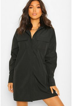 Black Cotton Mix Pocket Detail Shirt Dress
