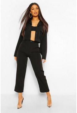 Black Tailored Pleat Detail Straight Trouser