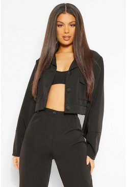 Black Tailored Pocket Detail Crop Jacket