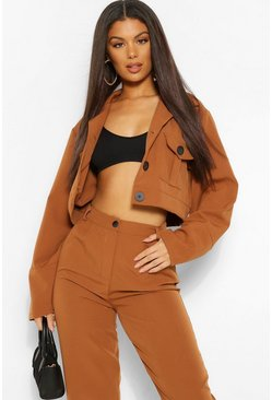 Camel beige Tailored Pocket Detail Crop Jacket