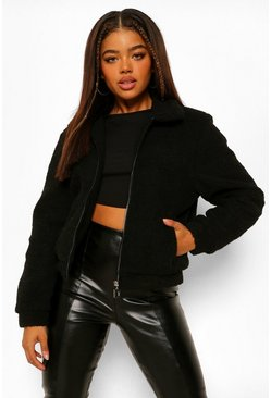 Crop Teddy Faux Fur Bomber Jacket, Black negro