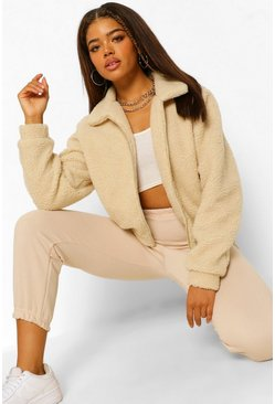 Cream white Crop Teddy Faux Fur Bomber Jacket