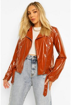 Chocolate brown Vinyl Biker Jacket