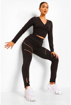 Black Neon Piping Active Leggings