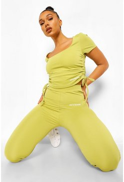 Olive green Ruche Side Active Top