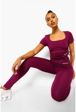 Plum purple Ruche Side Active Top