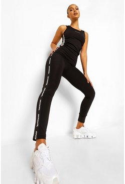 Black Sport Tape Side Active Leggings