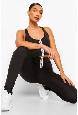 Black Sport Zip Front Active Leggings