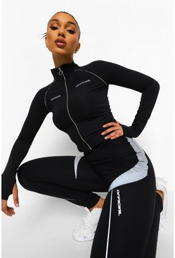 Black svart Reflective Panel Active Leggings