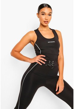 Black Reflective Piping Sports Bra