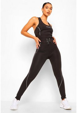 Black Reflective Piping Active Leggings