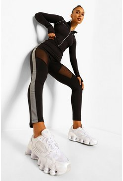 Black Reflective Tape Mesh Active Leggings