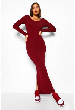 Long Sleeve Scoop Neck Ribbed Maxi Dress, Wine rojo