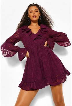 Berry Lace Ruffle Detail Skater Dress