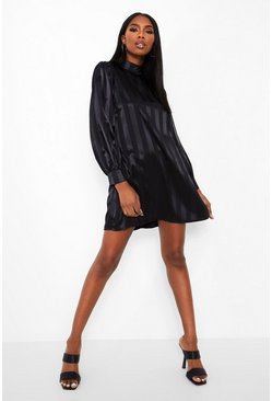 Black Stripe Satin Hogh Neck Shift Dress