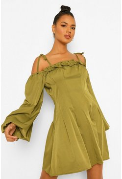 Khaki Tie Detail Cold Shoulder Skater Dress