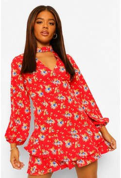 Red Floral High Neck Cut Out Skater Dress