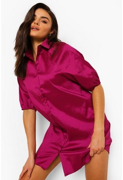 Raspberry pink Puff Sleeve Shirt Dress