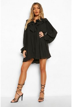 Black Extreme Ruffle Pleated Smock Dress