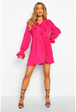 Hot pink pink Extreme Ruffle Pleated Smock Dress