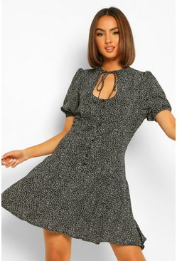 Black Spot Print Cut Out Skater Dress